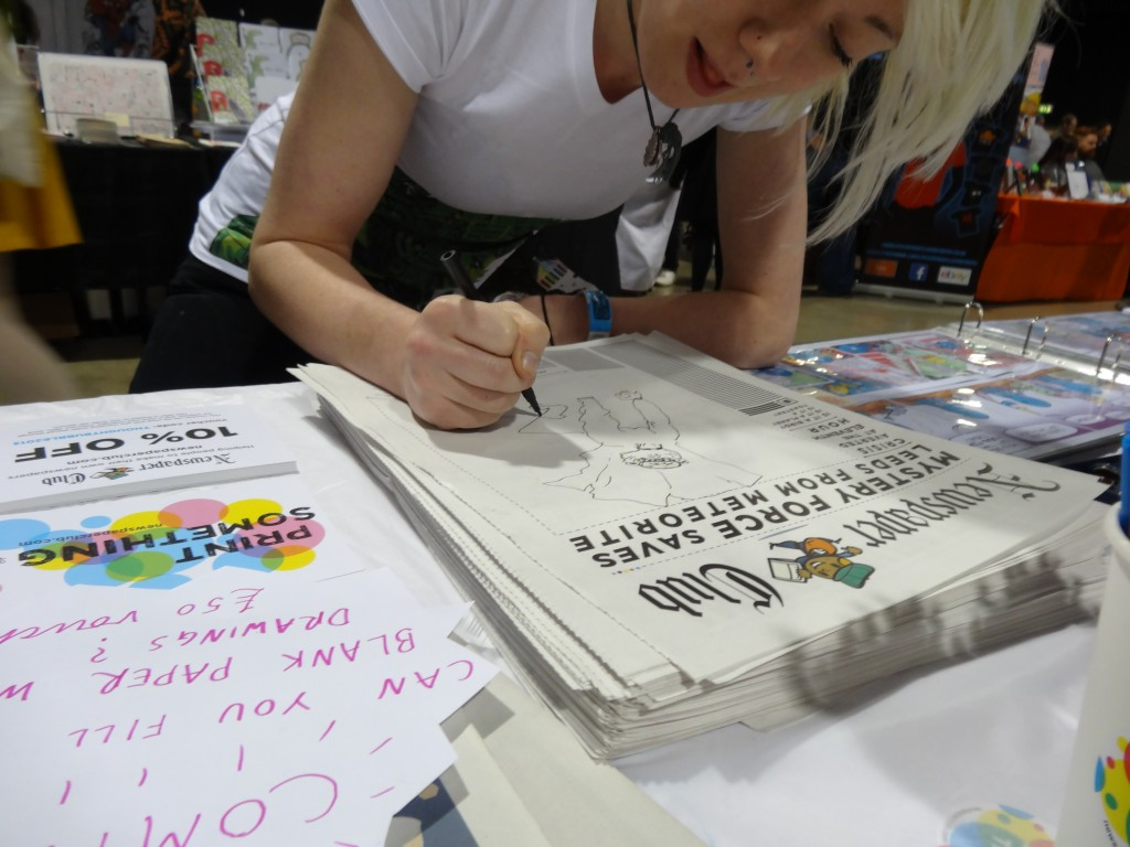 Jess from Hull drawing at Thought Bubble