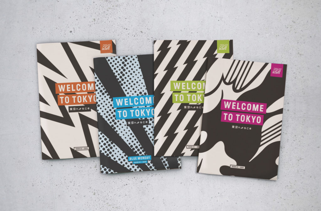 Traditional mini newspaper menu for YO! Sushi designed by &Smith
