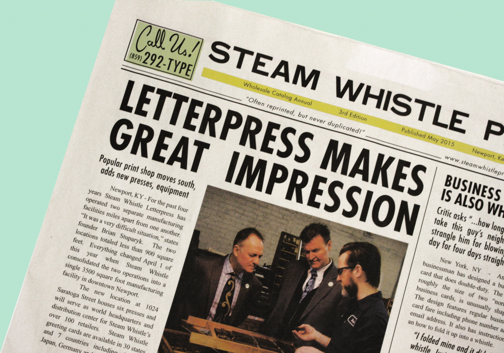 Steam Whistle Press traditional broadsheet newspaper