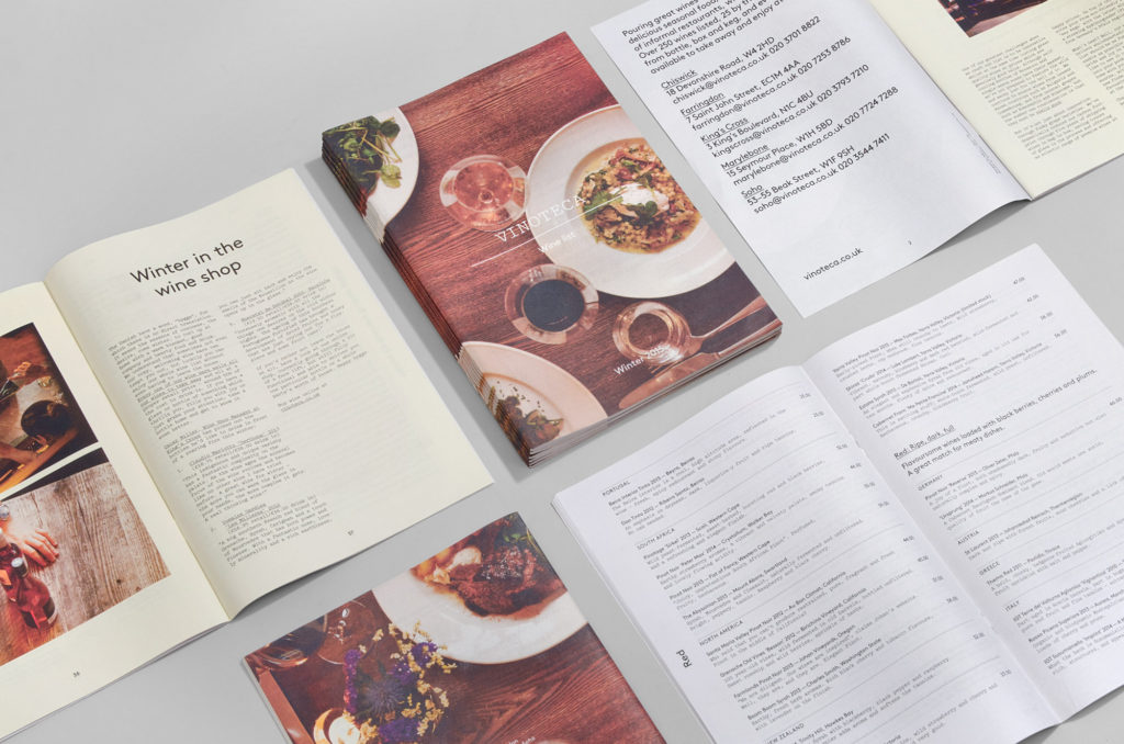 Vinoteca wine list newspaper designed by dn&co
