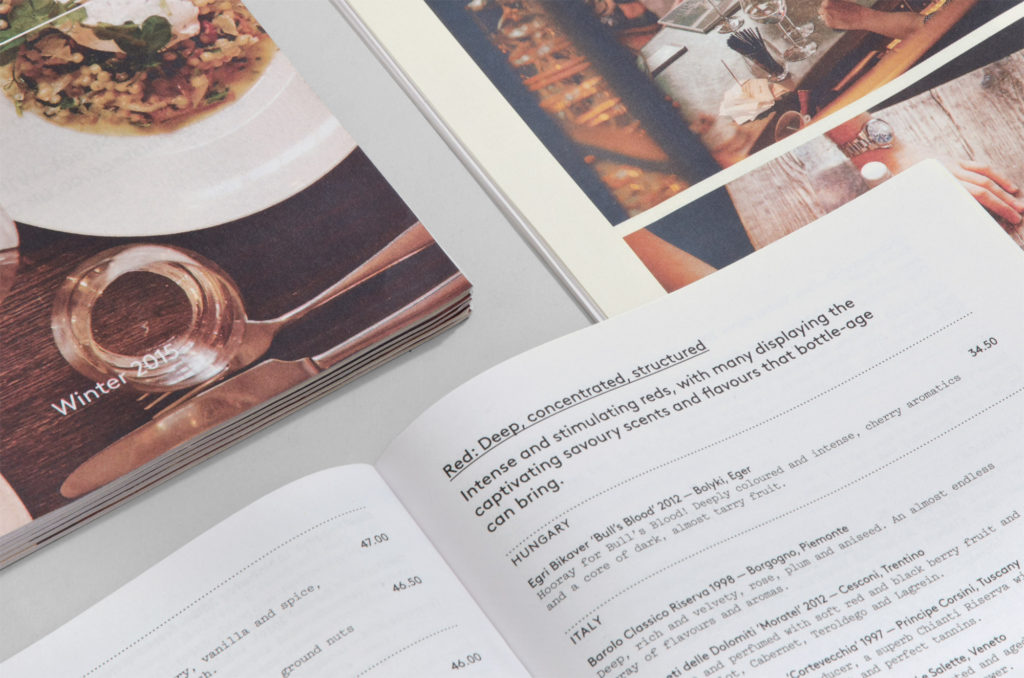 Vinoteca wine list newspaper designed by dn&co
