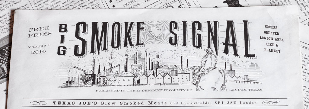 The Big Smoke Signal newspaper menu for Texas Joe's barbecue restaurant in London