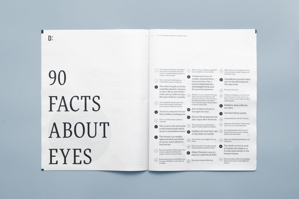 Flip through pages of life-sized eyeballs in Eye of the Beholder newspaper. Designed by Johanne Lian Olsen. Printed by Newspaper Club.