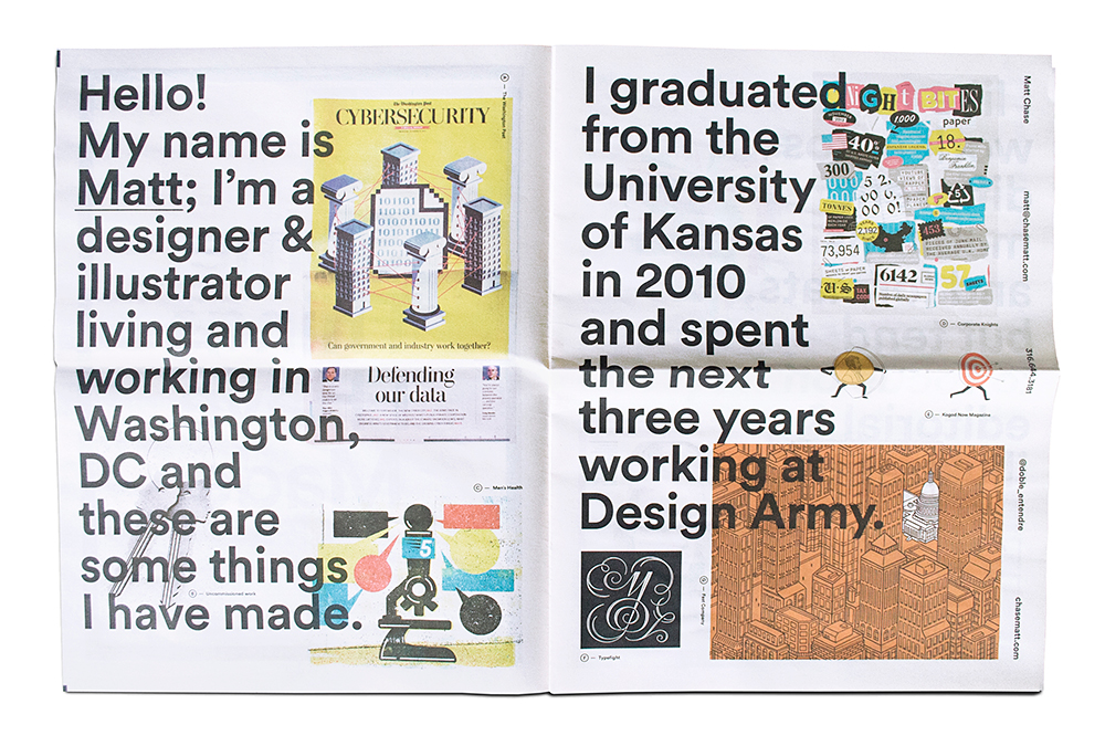 Matt Chase graphic design newspaper portfolio