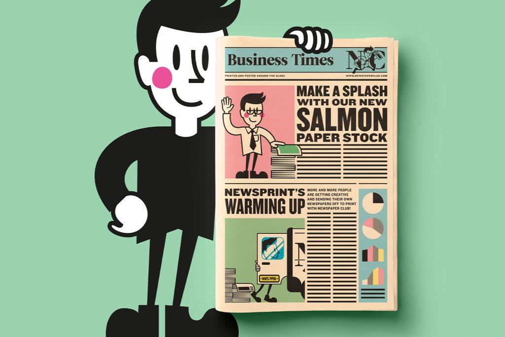 Newspaper Club now offering salmon pink newsprint