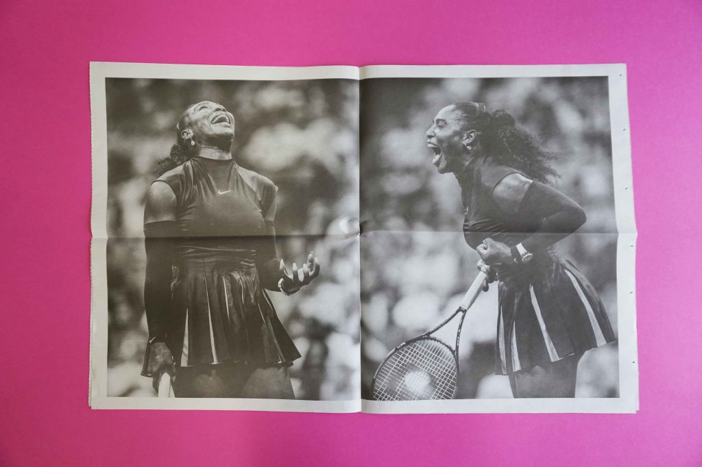 Serena Williams photography newspaper by Nicholas Laham. Printed by Newspaper Club.