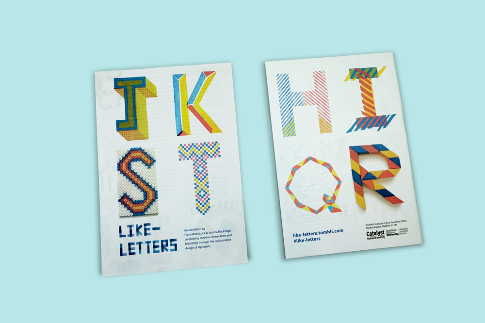 Like-Letters is a love letter to typographic forms by Fiona Woodcock's & Joanna Rucklidge. They recently exhibited their alphabet and invited people to contribute by designing postcards and adding to the display in the Old Head Post Office Gallery in Sheffield. They chose a newspaper to capture the story of the project for its informal, accessible and familiar style – the type of publication you might find in a newsagent or post office. Printed by Newspaper Club www.newspaperclub.com
