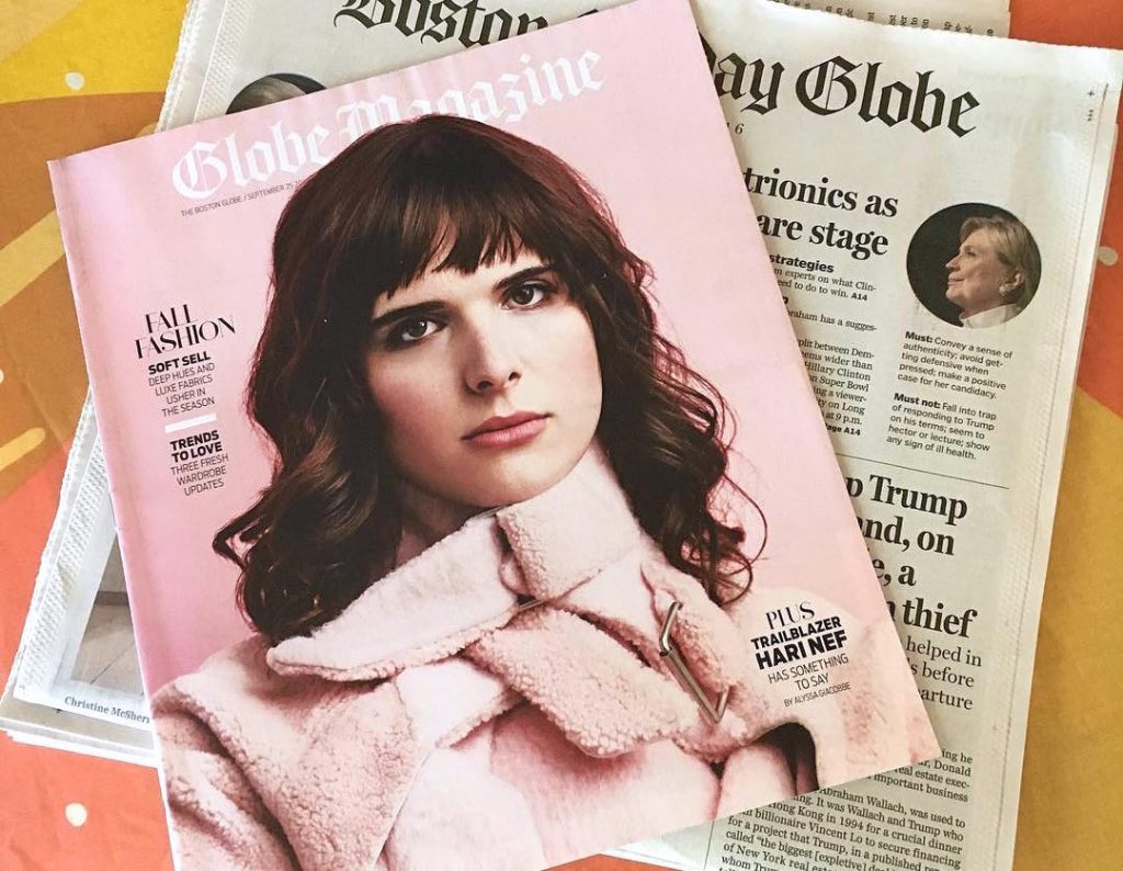 Cover of Boston Globe Magazine with cover photo of Hari Nef, shot by Roger Kisby