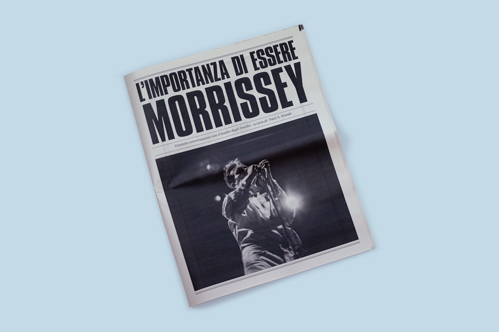 Student Luca Morabito used old English music magazines such as the NME to create a 'visual book' of legendary Smiths frontman Morrissey. By translating interview's with the singer into his native Italian, and including iconic photographs and artwork, we can see the story of his colourful career in a mammoth 64 page tabloid, from classic albums like Hatful of Hollow all the way to 2009s Years Of Refusal. Printed by Newspaper Club www.newspaperclub.com