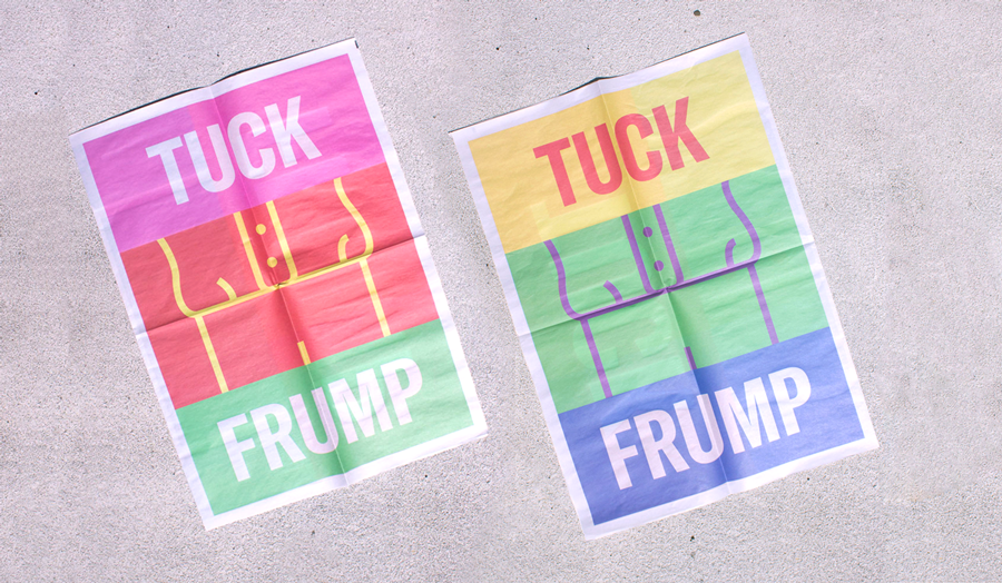 Tuck Frump newsprint poster by PlayLab Inc. Proceeds support ACLU. Printed by Newspaper Club.