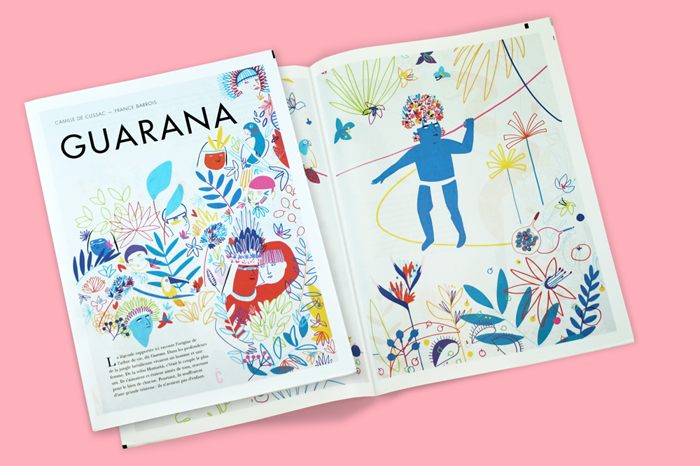 Guarana newspaper published by Atelier Césure and illustrated by artist Camille de Cussac. Printed by Newspaper Club.