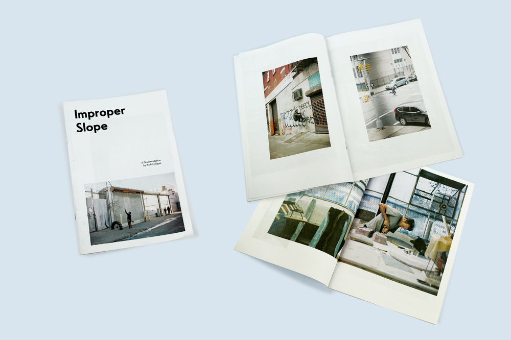 To accompany the NYC opening of sculptural artist Max Palmer's first solo exhibition – Improper Slope – a full-colour 32-page zine with photography by Rich Gilligan. Printed by Newspaper Club.