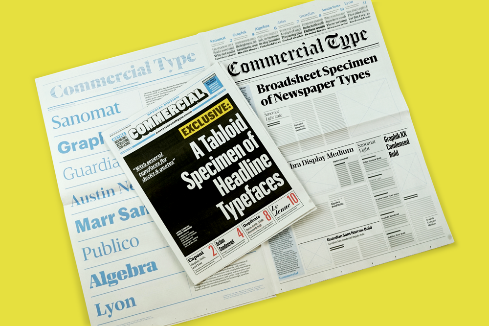 SND Newsprint Type Specimen for Commercial Type. Printed by Newspaper Club.