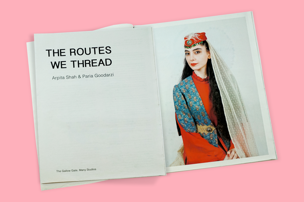The Routes We Thread exhibition newspaper, with artwork by Arpita Shah and Paria Goodarzi. Printed by Newspaper Club.