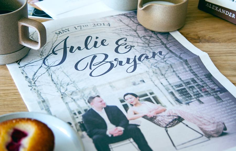 Designing a wedding newspaper:
