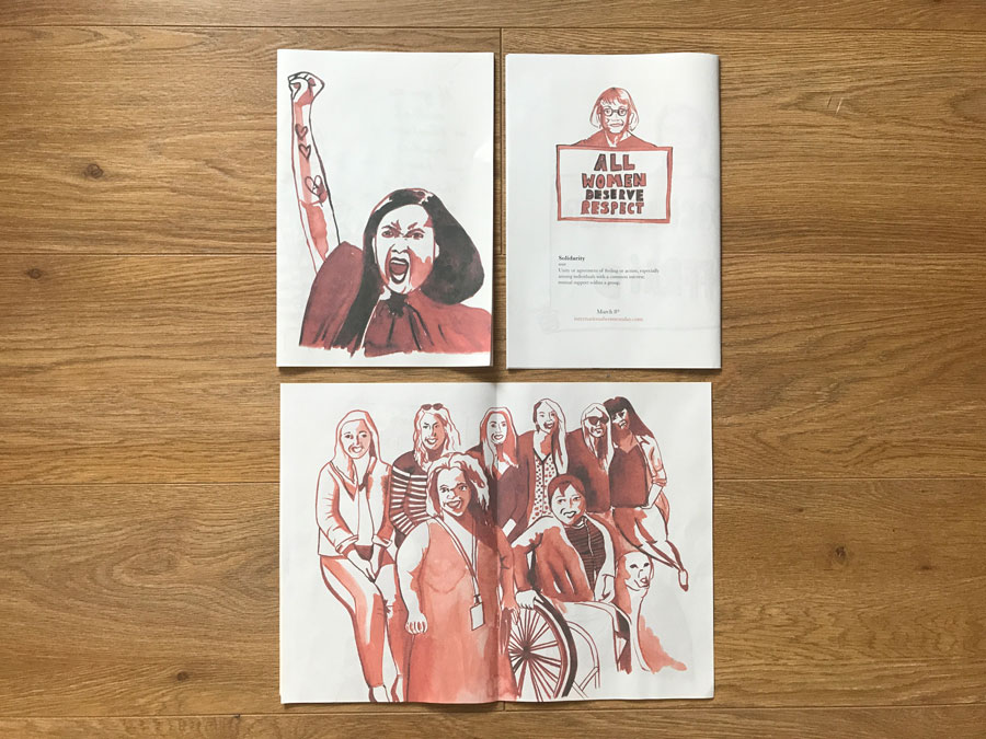 For International Women's Day, illustrator Becky Watts published the illustrated Solidarity zine. Printed by Newspaper Club.