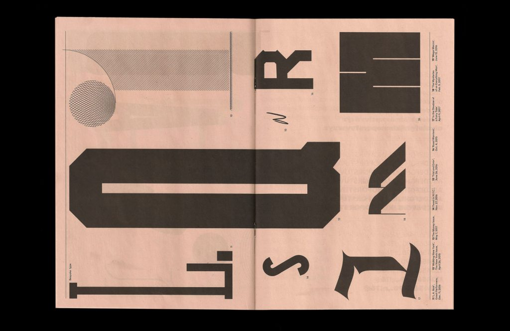 Newsprint specimen for NYT Mag exhibition of bespoke typography at the Type Directors Club. Printed by Newspaper Club.