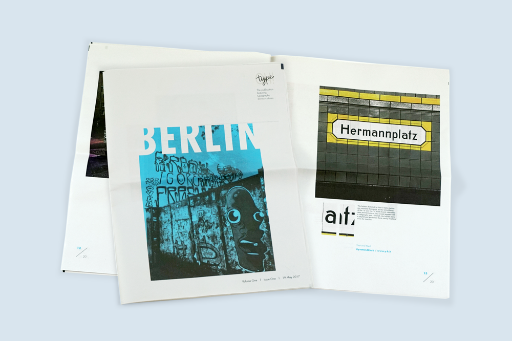 Street typography of Berlin in Type-OH! newspaper by Beth Post