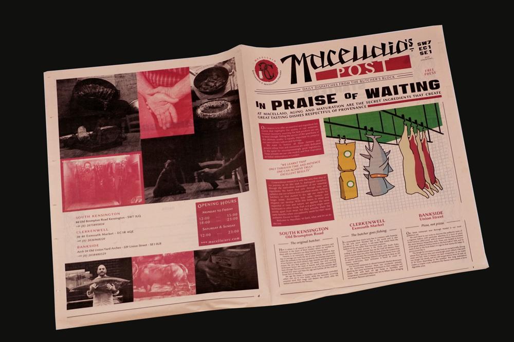 Pretty in Pink: 11 Ways to Use Salmon Newsprint. Menu for Macellaio London.