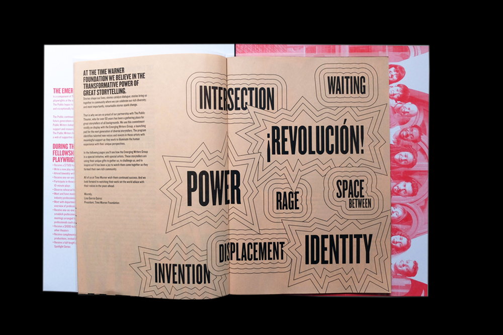 Pretty in Pink: 11 Ways to Use Salmon Newsprint. Programme for The Emerging Writers Group at Public Theater.