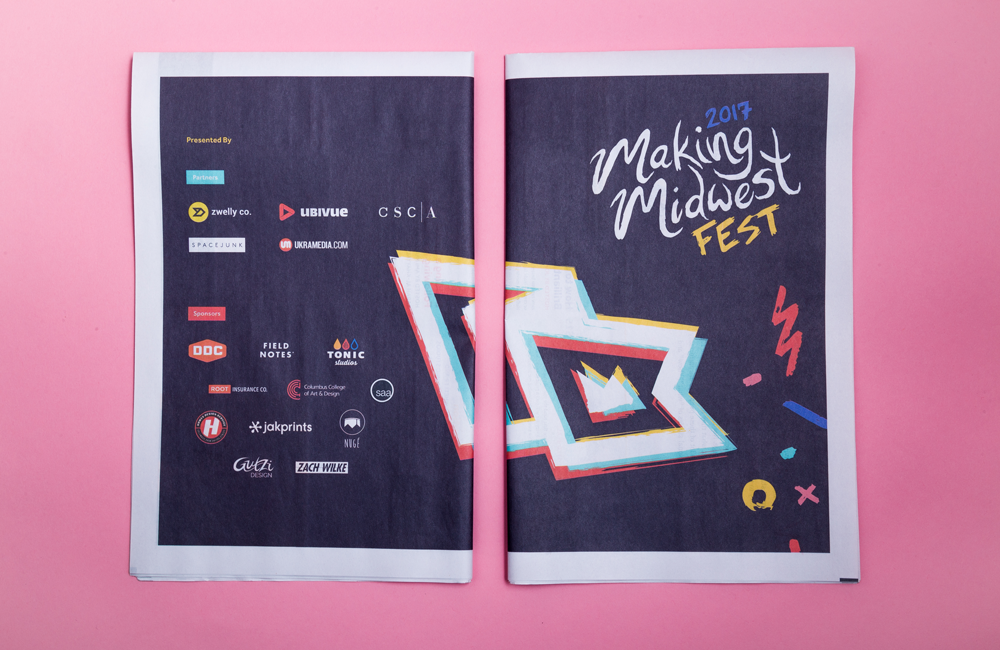 """The folks behind the first annual Making Midwest Fest also used their newspaper as a programme. They wanted to create a stellar design that captured """"the aesthetic and attitude behind Midwestern culture"""" so they tested and adapted the newspaper format to make it work for them."""