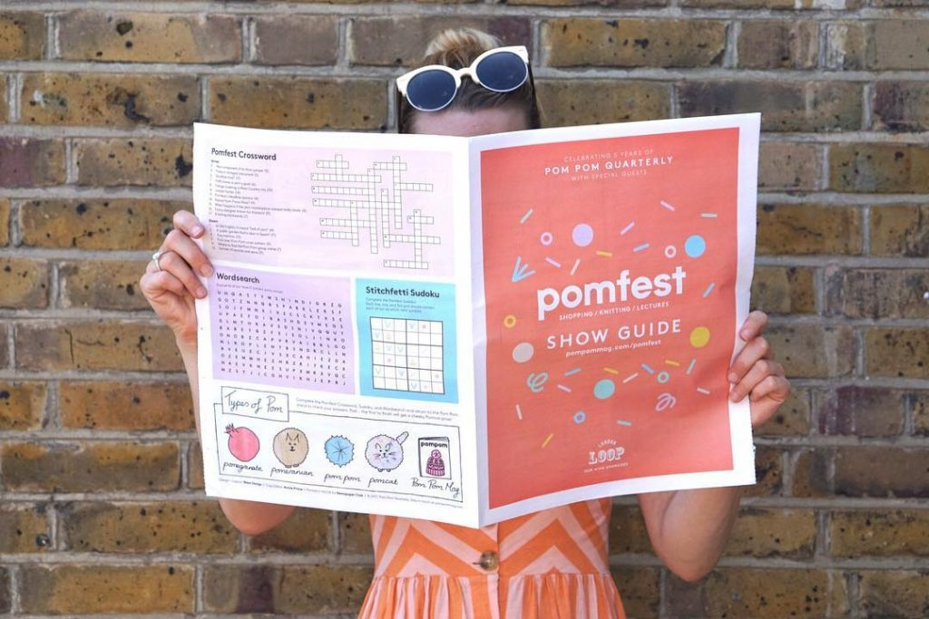 Pom Pom Quarterly just celebrated their 5th anniversary with Pomfest, a knitting festival in London. Championing all things craft and knitting the 2-day festival included a marketplace and series of lectures all rounded of with a podcast, called Pomcast. They used their newspaper as a guide to the show, but also included elements that people could use after the weekend was over. They're mapped out some great places for crafting in East London and put a knitting-themed spin on features such as horoscopes, comics and even a crossword.