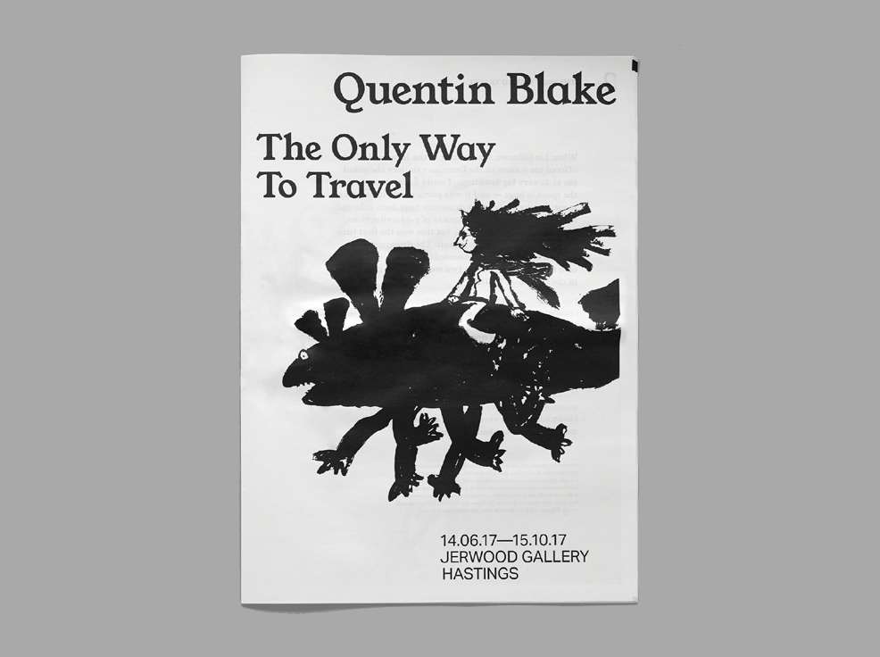 "Quentin Blake ""The Only Way to Travel"" exhibition newspaper."
