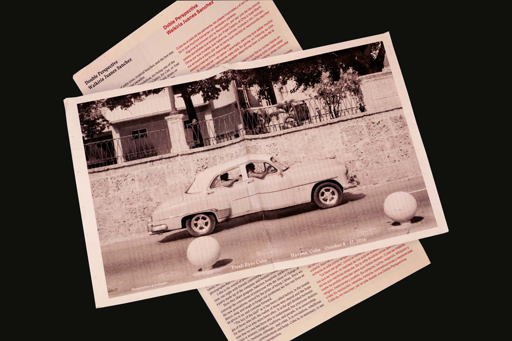 Pretty in Pink: 11 Ways to Use Salmon Newsprint. Fresh Eyes Cuba poster designed by Shiffman and Kohnke.