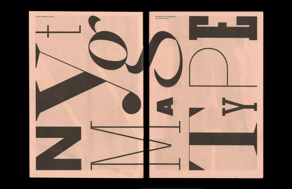 Pretty in Pink: 11 Ways to Use Salmon Newsprint. NYT Mag Type exhibition catalogue for Type Directors Club.