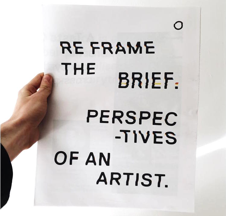 Reframe the Brief: Perspectives of an Artist newspaper designed by Garry Parker for A Taste of Space