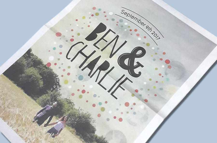 Ben and Charlie wedding newspaper