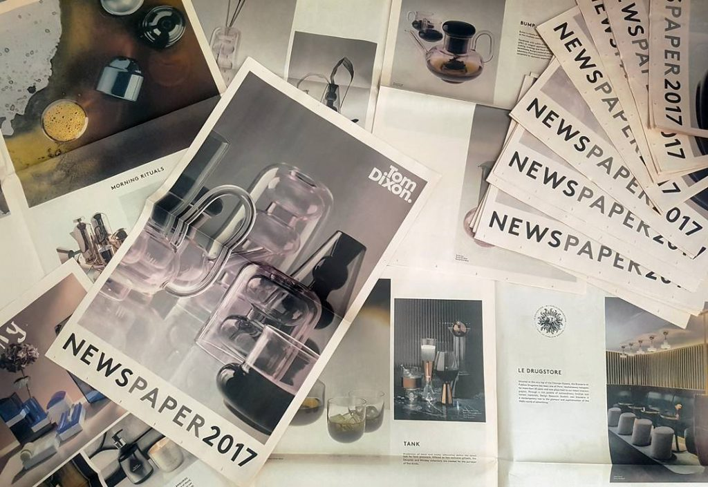 Tom Dixon newspaper catalogue printed by Newspaper Club