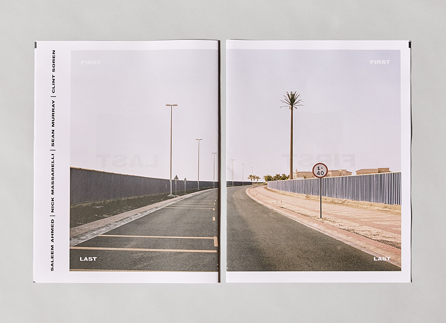 First Last is a newsprint book of ten posters, showcasing photography, collage, and design work created by four artists. The book was organized to create diptychs of two different works on each spread. Designed by Nick Massarelli.