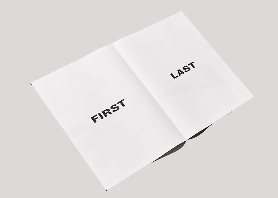 first last is a newsprint book of ten posters showcasing photography collage and
