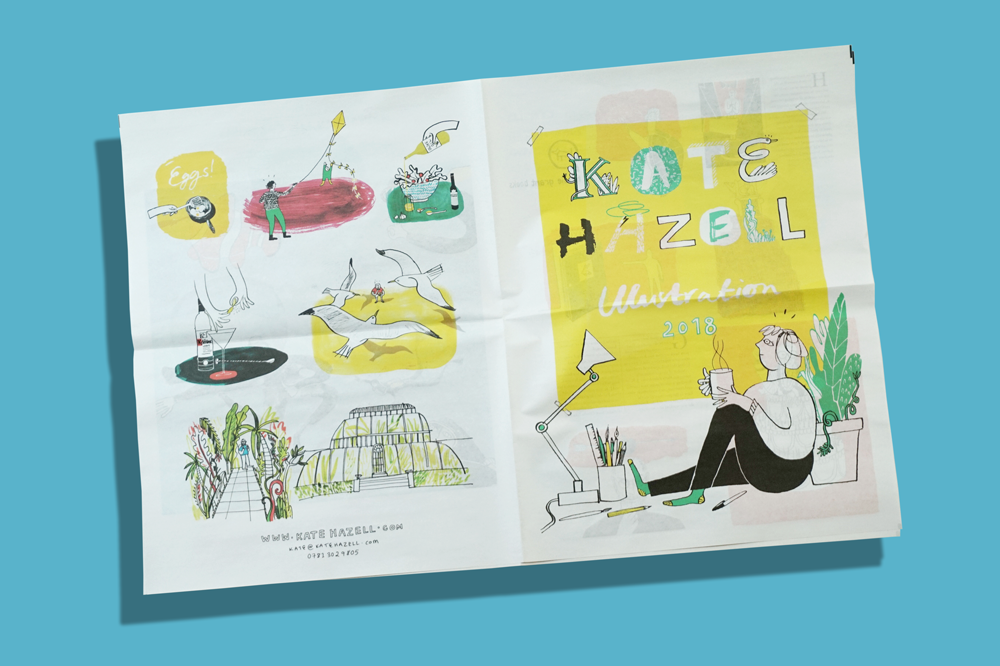 Kate Hazell illustration portfolio printed by Newspaper Club