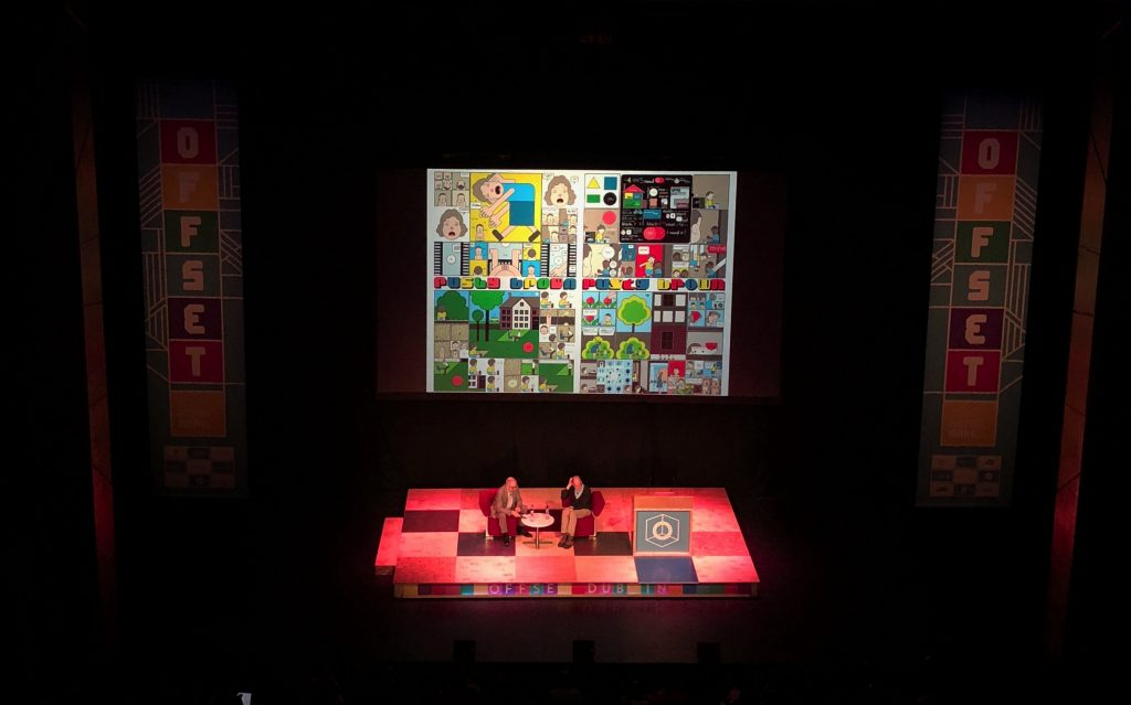 chris ware in conversation with john walters of EYE magazine at offset dublin 2018