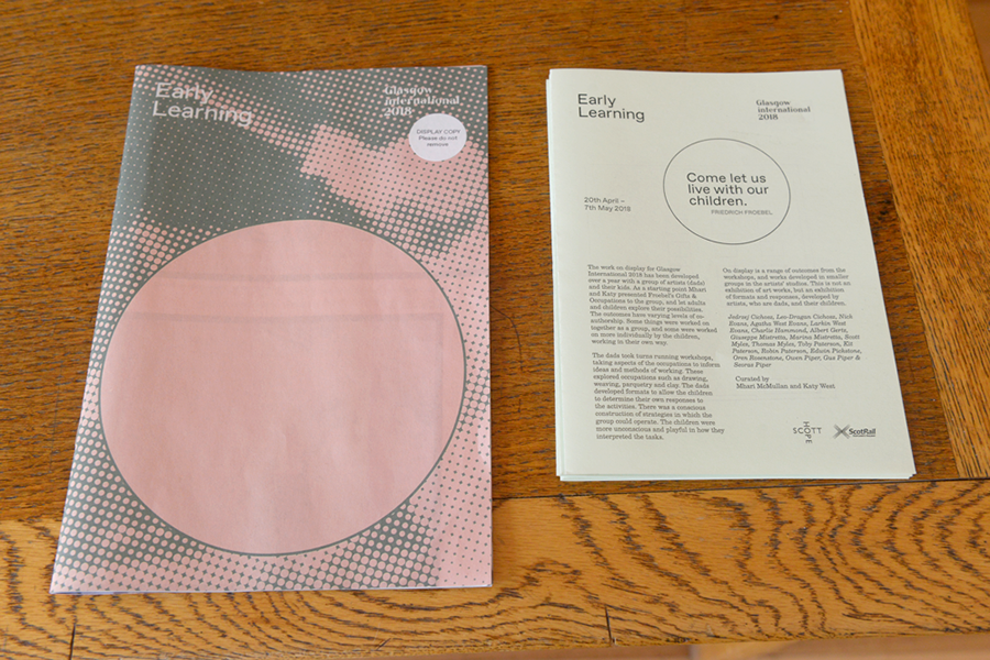 Early Learning newspaper for exhibition at Scotland Street School during Glasgow International 2018. Designed by Neil McGuire.