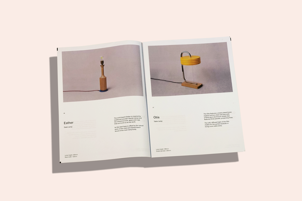 Nocturne lamps are designed and built by Simon Day from his workshop in Manchester. Creative studio Modern Designers recently created a new visual identity for Nocturne, and printed this newspaper to introduce the brand at Clerkenwell Design Week.