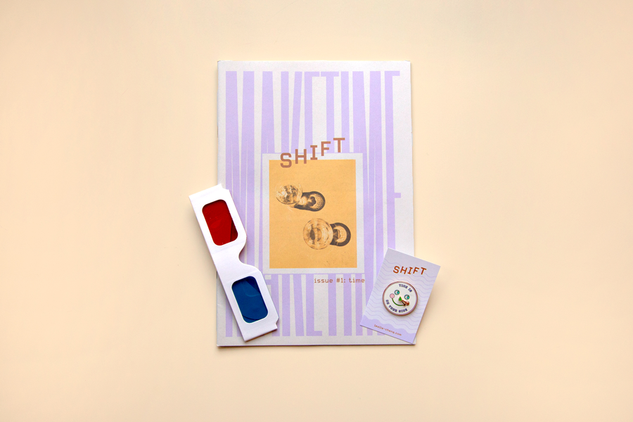 Shift Zine explores moments of transition through illustration, writing and photography. Time is the theme of this first issue, which comes with a set of 3D glasses to use with a photo series by Kevin Frances.