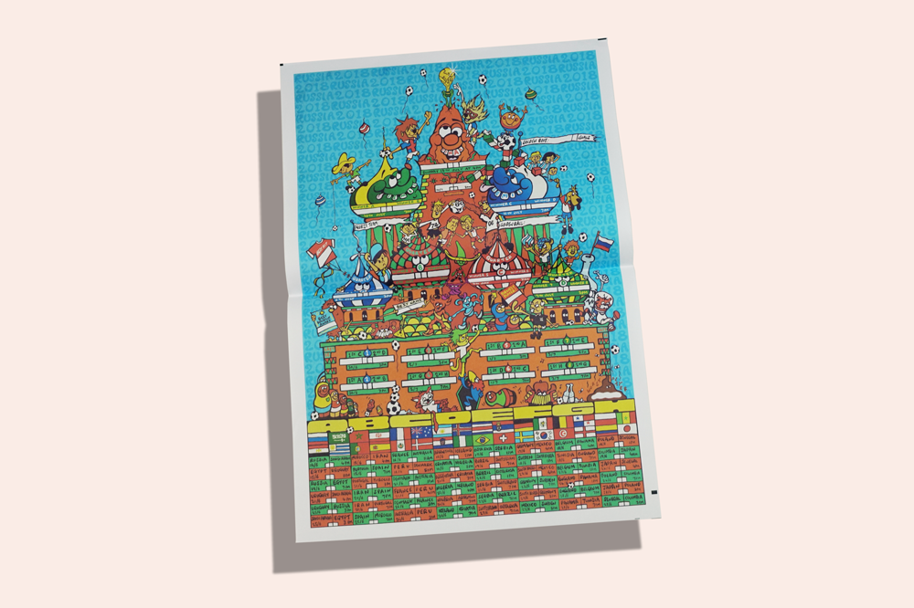"""""""Wall charts are notoriously boring, very confusing, data-filled schedules,"""" says Turbo Island illustrator Chris Wright, who took a different approach with his """"World's Weirdest World Cup"""" poster. The chaotic scene took Wright about a week to draw, and features every previous World Cup mascot clambering around Russia's St Basil Cathedral. Since it's designed to be filled in with pen, """"newsprint was the perfect surface."""""""
