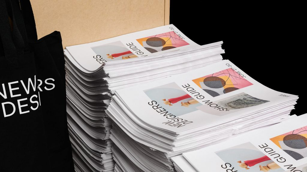 New Designers newsprint programme designed by Village Green Studio. Print your own newspaper with Newspaper Club.