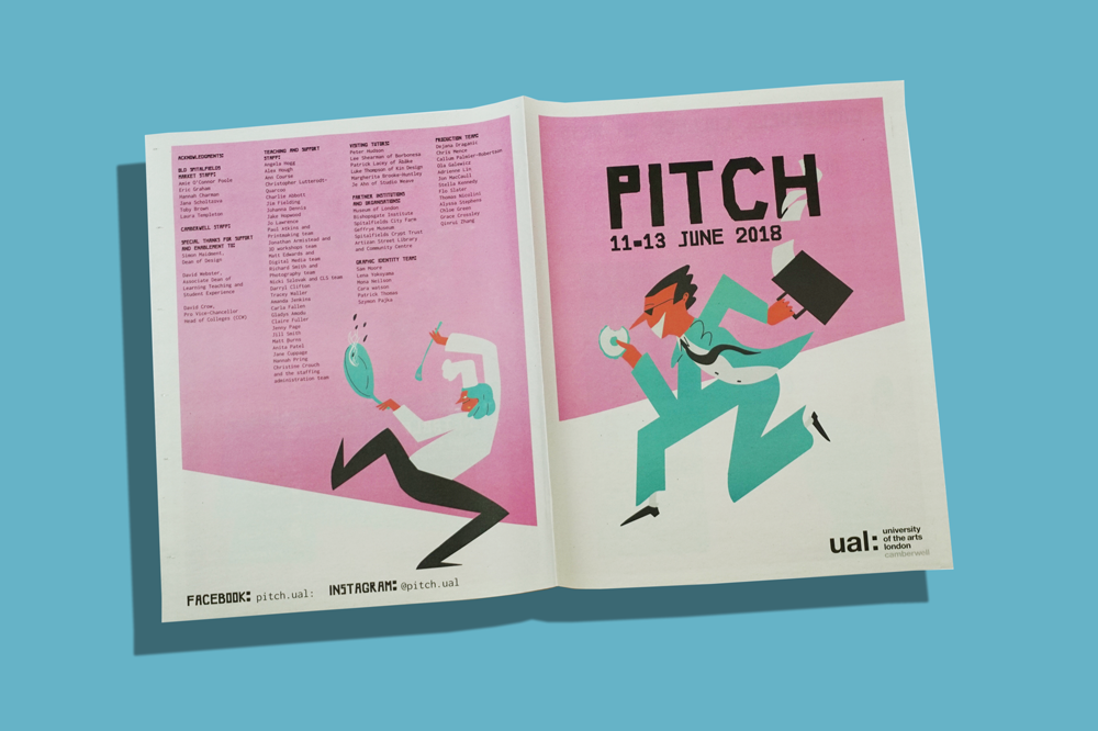 Pitch newspaper designed by graphic design students at Camberwell College of Arts