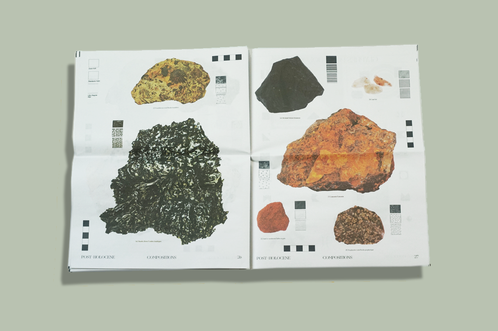 Post-Holocene typographic specimen by Amelie Vancoppenolle. Printed by Newspaper Club.