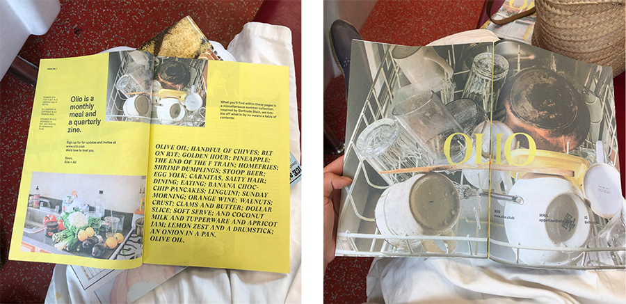 Olio is a monthly meal and a quarterly newsprint zine based in New York City.