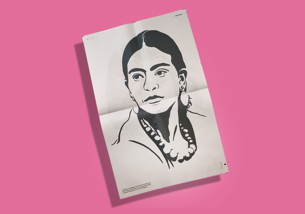 In September, the Klingenhof courtyard in Zurich will host an art project celebrating significant 20th century figures, including activist Steve Biko, novelist Max Frisch and painter Frida Kahlo (pictured above). Illustrator Anna Egli created a series of portraits, which are printed as posters in this newspaper designed by Luca Mondgenast. Print your own newspaper with Newspaper Club.