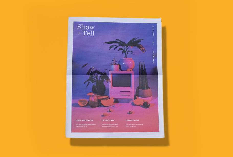"Show + Tell Issue #2 Digital tabloid printed on 55gsm improved newsprint From roaring waterfalls in tall forests to trickling fountains in peaceful gardens, the Pacific Northwest comes alive in the summertime. This was the inspiration for the second edition of Show + Tell, a newspaper Owen Jones (www.instagram.com/whoisowenjones) created in collaboration with Scout Books (www.scoutbooks.com). ""We started our quarterly paper as something to showcase the creative talent of Owen Jones employees outside of their day jobs,"" they explain. This edition features a summer guide to Portland, horoscopes and a playlist of summer jams picked by Scout Books."