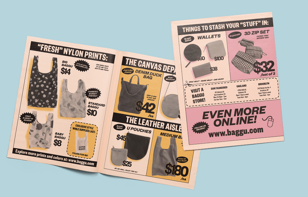 How a 90s grocery circular inspired Baggu's retro newspaper design