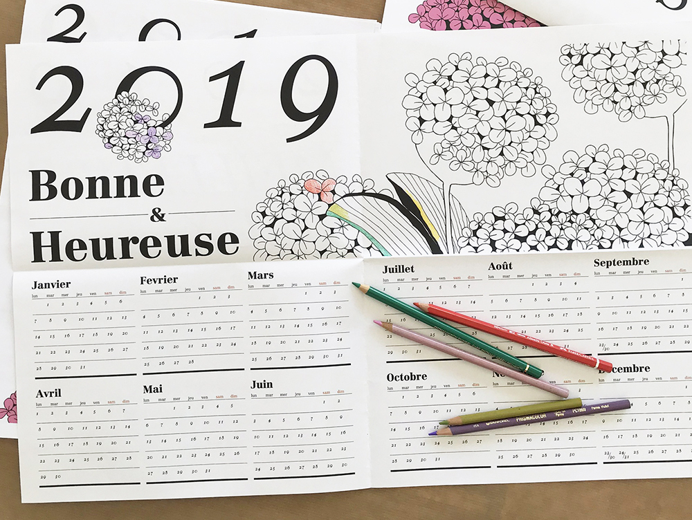 Taiwan-born artist Wanyu Basset used a tabloid for this 2019 calendar, featuring a different botanical illustration – designed to be coloured in! – for each month.
