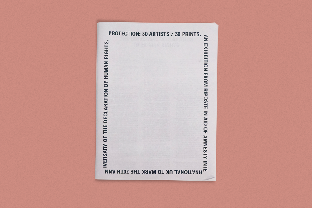 "Riposte and Amnesty UK ask 30 artists to illustrate ""Protection"""