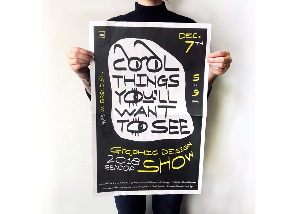 Students in the BFA Graphic Design Program at VCU in Richmond, Virginia made this fold-out poster as a take-away for their Senior Show last week. Carolyn Balch designed the poster with her own hand-lettering and drawings and Heidi Failmezger used elements from the poster to create the inside spread, where all 13 students in the show wrote artist statements about their capstone projects.